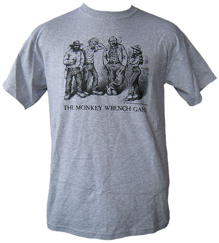 The Whole Gang T-Shirt - Grey (XXL); The Monkey Wrench Gang T-Shirt Series. Edward Abbey/R. Crumb.