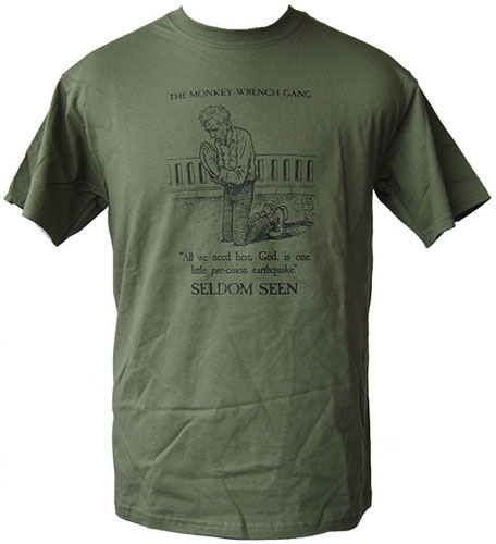 Seldom Seen Smith T-Shirt - Olive Green (XXL); The Monkey Wrench Gang T-Shirt Series. Edward Abbey/R. Crumb.