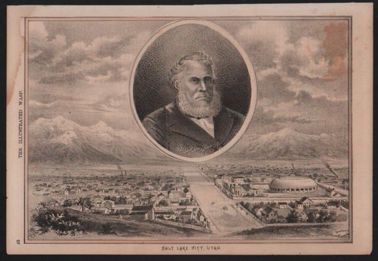 Lithograph of Brigham Young and Salt Lake City (extracted from The Illustrated Wasp). George Frederick Keller.