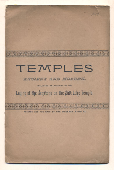 Temples. Descriptive and Historical Sketches of Ancient and Modern Edifices. Janne. Mattson Sjodahl.