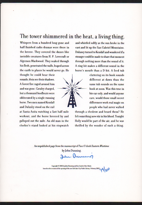 The Tower Shimmered in the Heat, a Living Thing. John Dunning.