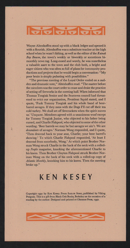 Wayne Altenhoffen stood up with a black ledger and opened it with a flourish. Ken Kesey.