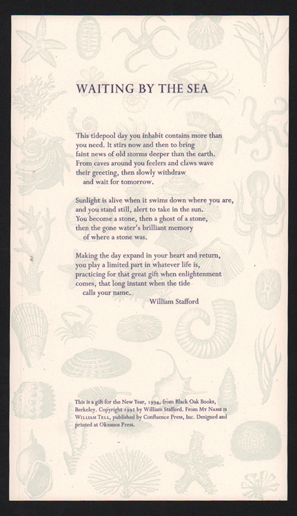 Waiting By the Sea. William Stafford.