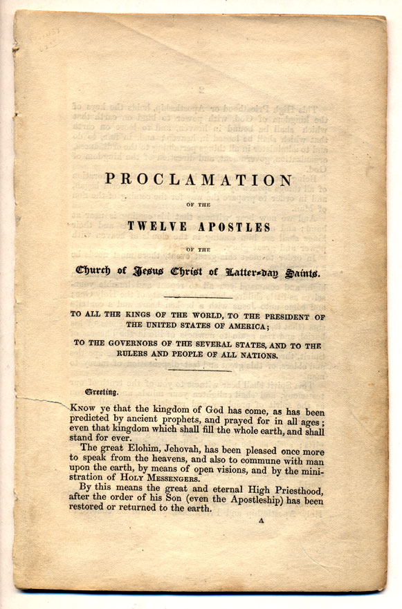 Proclamation of the Twelve Apostles of the Church of Jesus Christ Latter-day Saints. To all the Kings of the World, to the President of the United States of America; To the Governors of the Several States and to the Rulers and People of All Nations. Parley Parker Pratt.