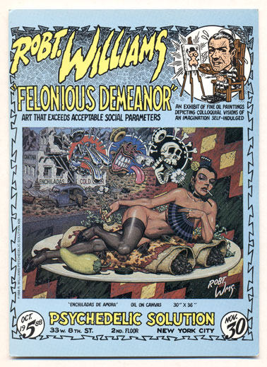 """Enchiladas de Amora (""""Felonious Demeanor""""- Art that exceeds Acceptable Social Parameters: An Exhibit of Fine Oil Paintings Depicting Colloquial Visions of an Imagination Self-Indulged). Robert Williams, Postcard."""