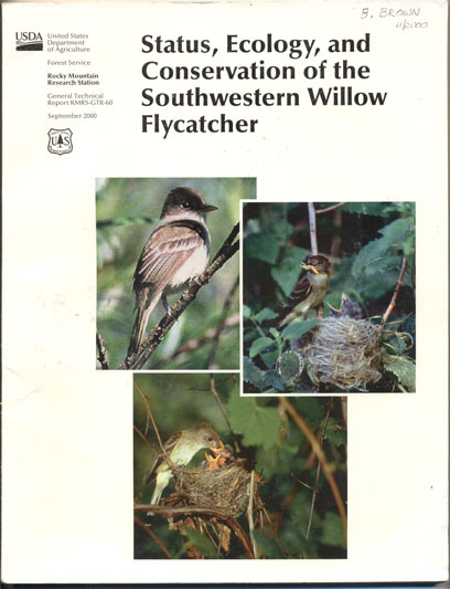 Status, Ecology, and Conservation of the Southwestern Willow Flycatcher. Deborah M. Finch, Scott H. Stoleson.