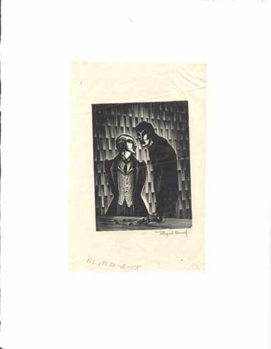 Signed Block Print from Mad Man's Drum [The Informant/Infiltrator being paid]. Lynd Ward.