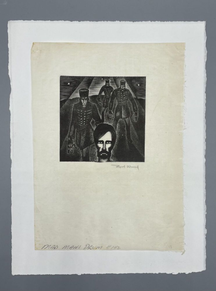 Signed Block Print from Mad Man's Drum [Labor Organizer being arrested]. Lynd Ward.