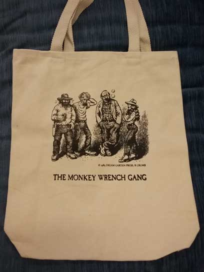 The Monkey Wrench Gang Tote Bag- The Whole Gang. Edward Abbey/R. Crumb.
