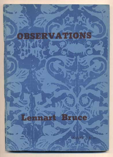 Observations: An Agenda. Lennart Bruce, George Hitchcock, poems, prints, Donald Allen.