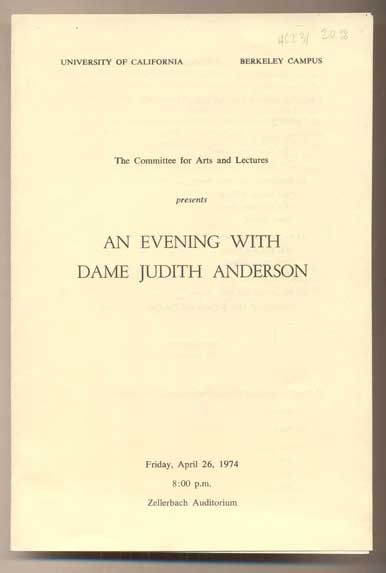 An Evening with Dame Judith Anderson. Committee for Arts, UC Berkeley Lectures.
