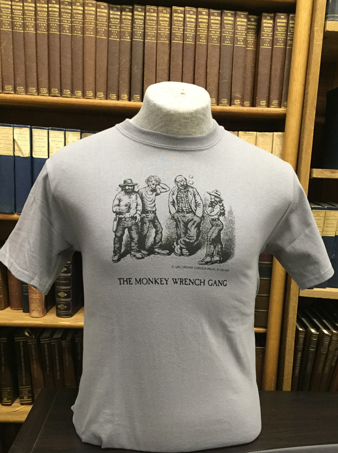 The whole gang t shirt grey s the monkey wrench gang t for Entire book on shirt