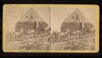 Tip Top House, Mt. Wash'n, 6285 feet above the Sea (Mount Washington State Park, New Hampshire). Stereoview, S. F. Adams.