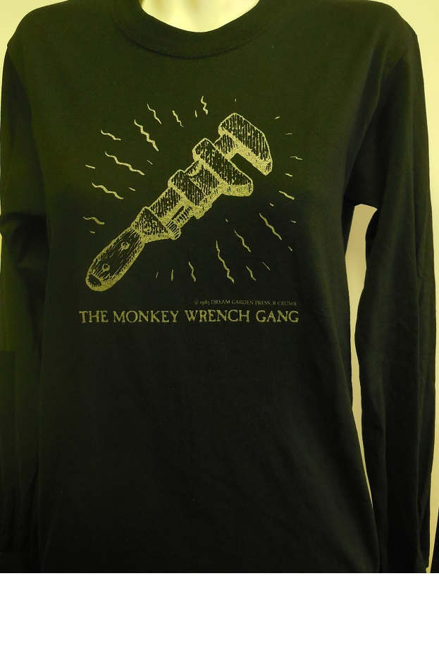 The Wrench T-Shirt - Long Sleeve - Black (S); The Monkey Wrench Gang T-Shirt Series. Edward Abbey/R. Crumb.