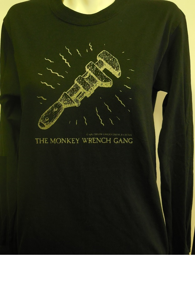 The Wrench T-Shirt - Long Sleeve - Black (M); The Monkey Wrench Gang T-Shirt Series. Edward Abbey/R. Crumb.