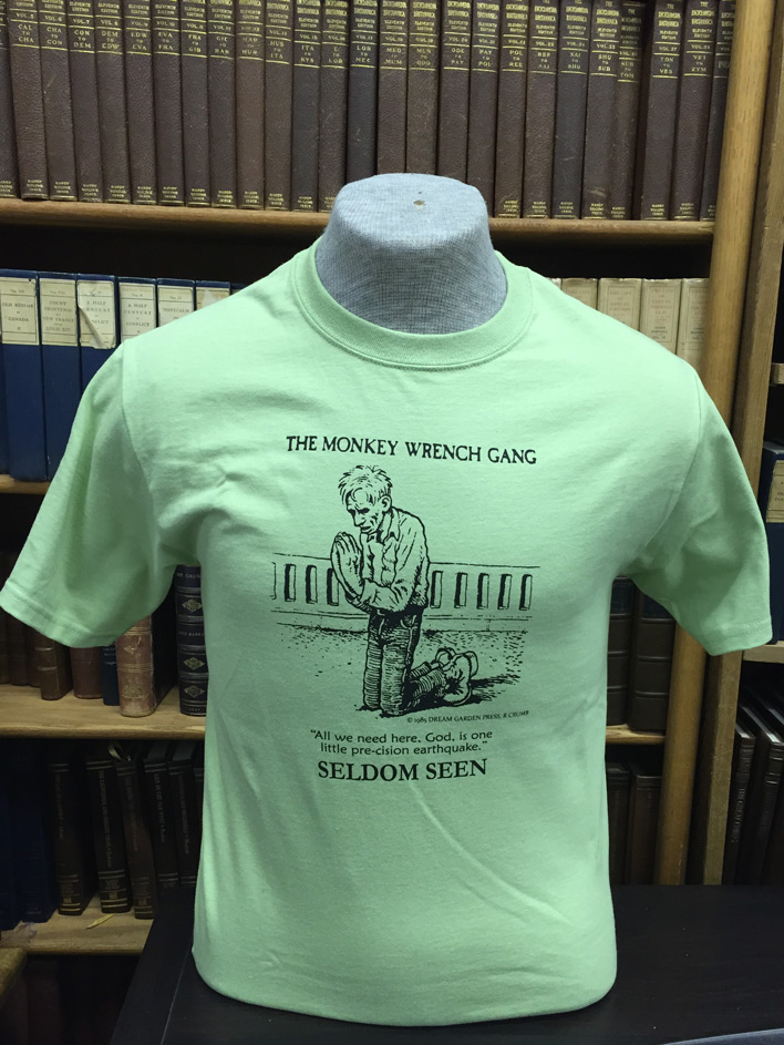 Seldom Seen Smith T-Shirt (Earthquake) - Pistachio (M); The Monkey Wrench Gang T-Shirt Series. Edward Abbey/R. Crumb.
