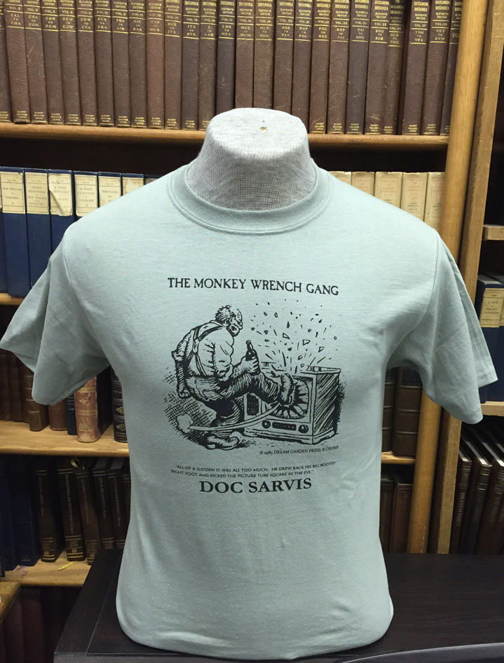 Doc Sarvis T-Shirt - Stonewash Green (M); The Monkey Wrench Gang T-Shirt Series. Edward Abbey/R. Crumb.