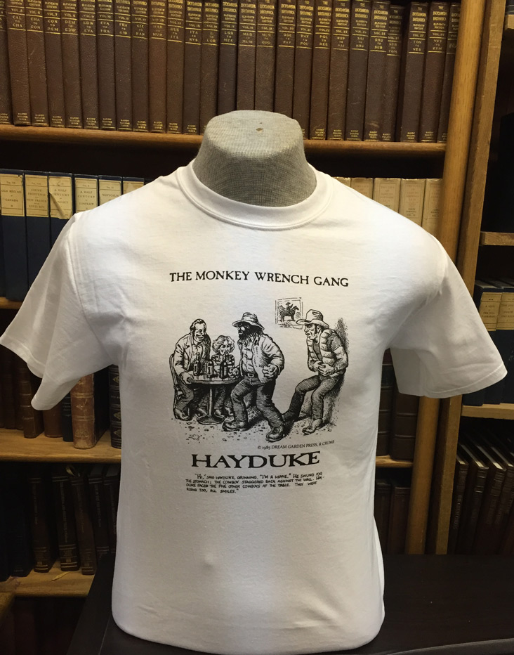 "Hayduke ""I'm a Hippie!"" T-Shirt - White (M); The Monkey Wrench Gang T-Shirt Series. Edward Abbey/R. Crumb."