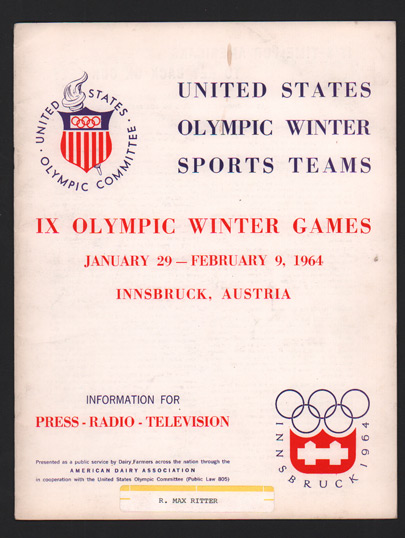 United States Olympic Winter Sports Teams. IX Olympic Winter Games January 29 - February 9, 1964. Innsbruck, Austria. Information for Press - Radio - Television. United States Olympic Committee.