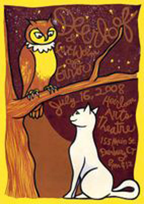Signed, Limited Edition Poster by Artist Leia Bell: Deerhoof & Fat Worm of Error. July 16, 2008. Heirloom Arts Theatre. 155 Main St. Danbury, CT. 8pm. $12. Leia Bell.