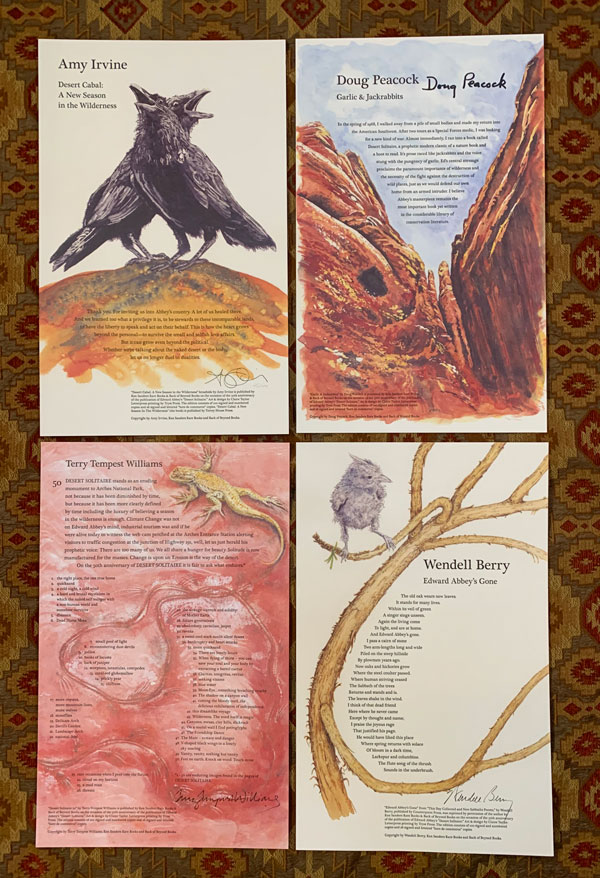 Desert Cabal: A New Season in the Wilderness; Garlic & Jackrabbits; Desert Solitaire 50; Edward Abbey's Gone. Amy Irvine, Doug Peacock, Terry Tempest Williams, Wendell Berry.