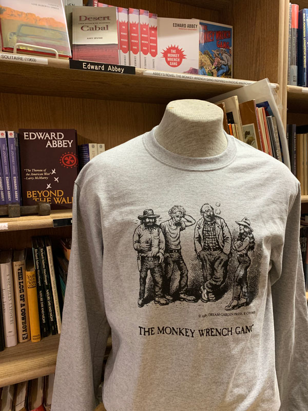 The Whole Gang T-Shirt - Long Sleeve - Heathered Gray (S); The Monkey Wrench Gang T-Shirt Series. Edward Abbey/R. Crumb.