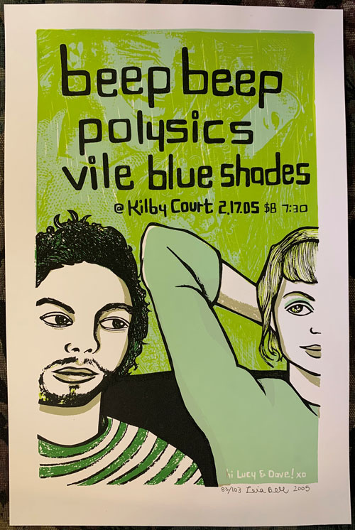 Signed, Limited Edition Poster by Artist Leia Bell: Beep Beep, Polysics, Vile Blue Shades. Leia Bell.