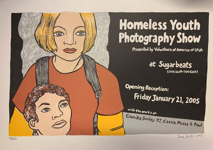 Signed, Limited Edition Poster by Artist Leia Bell: Homeless Youth Photography Show. Leia Bell.
