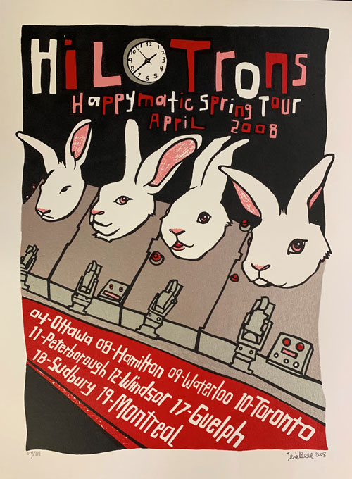 Signed, Limited Edition Poster by Artist Leia Bell: Hilotrons Happymatic Spring Tour. Leia Bell.