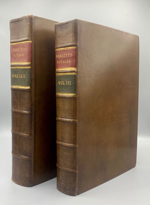 The Principal Navigations, Voyages, Traffiques and Discoveries of the English Nation, made by Sea or overland, to the remote and farthest distant quarters of the Earth, at any time within the compasse of these 1600 yeres (3 volumes bound as 2). Richard Hakluyt.