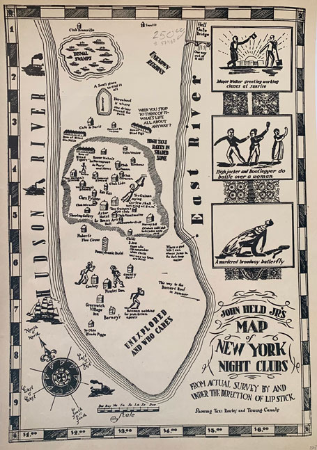 John Held Jr's Map of New York Night Clubs from Actual Survey By and Under the Direction of Lip Stick. Showing Taxi Routes and Towing Canals. John Held, Jr.
