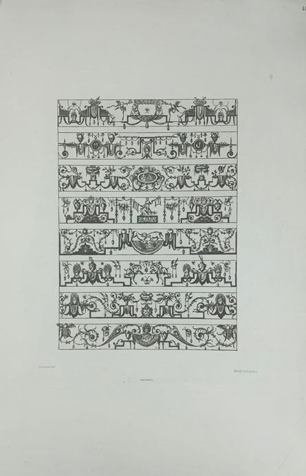 Lot of 24 Plates from Grandes Arabesques Series [Grotesque Ornament] [French Architecture]. Jacques Androuet Du Cerceau, Héliogre. de E. Baldus, Édouard.