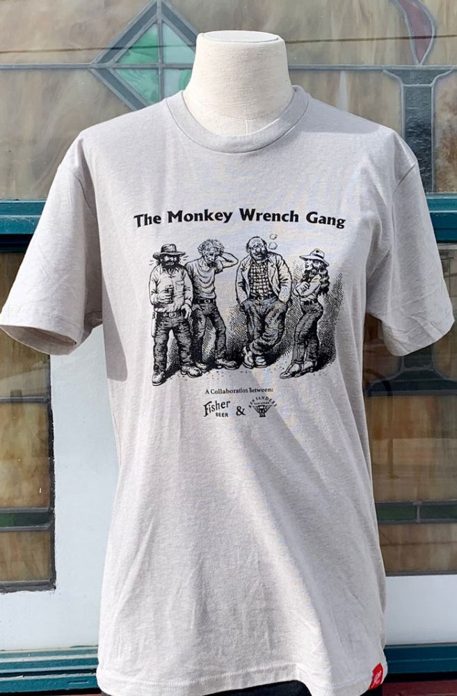 Monkey Wrench Gang Beer T-Shirt - A Collaboration Between Ken Sanders Rare Books and Fisher Beer - MEDIUM. Edward Abbey / R. Crumb / A. Fisher Brewing Co. / Ken Sanders Rare Books.