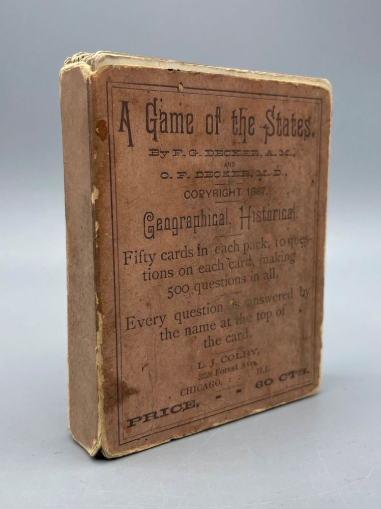 A Game of the States. F. G. Decker, O. F. Decker, Vintage Card Game.