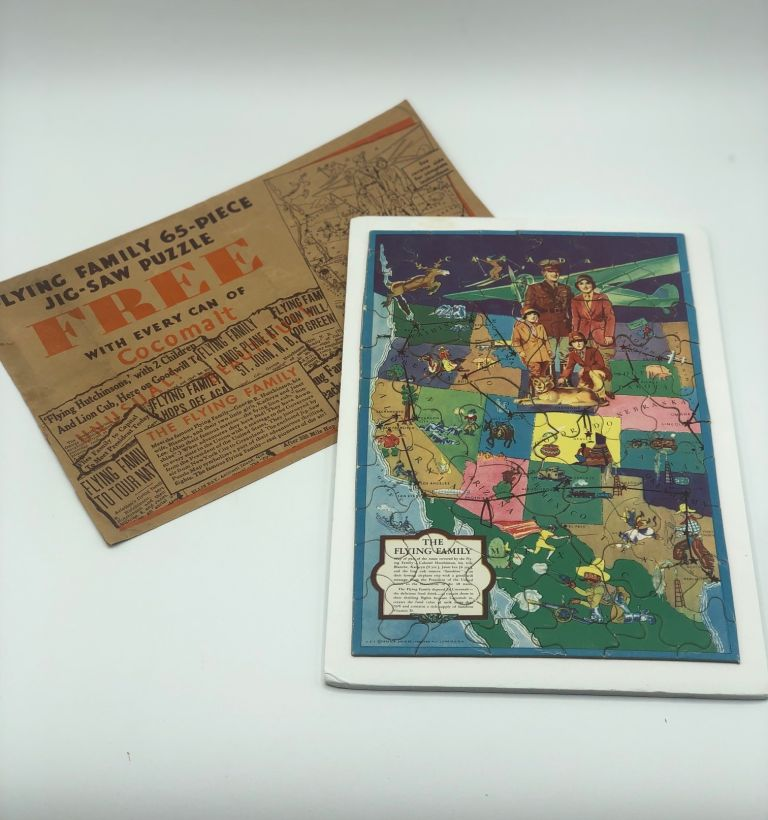 The Flying Family. Puzzle Map, Western United States, Aviation, Advertising.