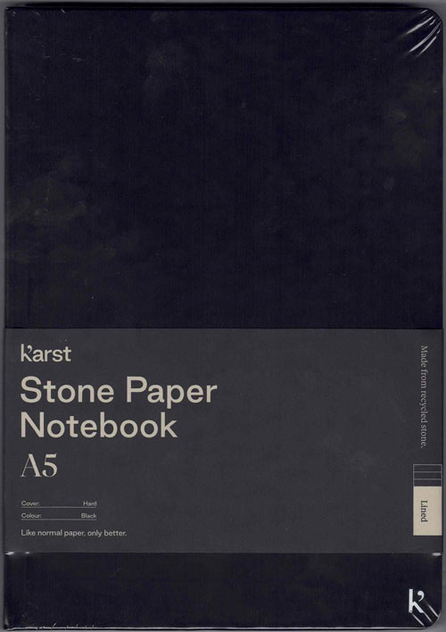 Stone Paper Notebook (Black) - Lined Pages