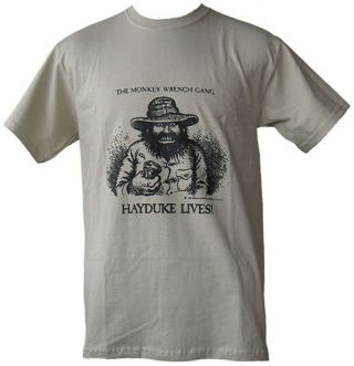 Hayduke Lives! T-Shirt - Tan (XL); The Monkey Wrench Gang T-Shirt Series. Edward Abbey/R. Crumb