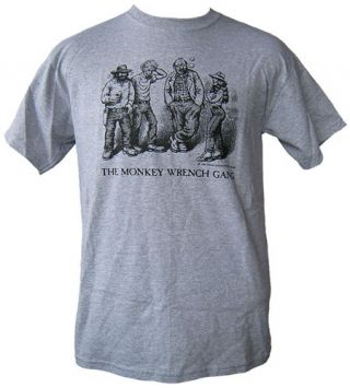 The Whole Gang T-Shirt - Grey (M); The Monkey Wrench Gang T-Shirt Series. Edward Abbey/R. Crumb
