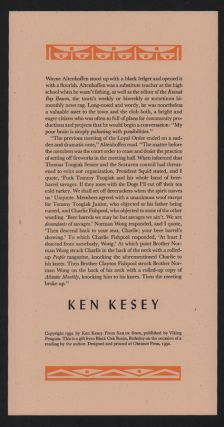 Wayne Altenhoffen stood up with a black ledger and opened it with a flourish. Ken Kesey