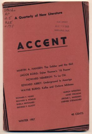 Accent Vol. XVII, No.1; A Quarterly of New Literature. Edward Abbey