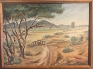 Original Oil Painting of the Topaz Internment camp by an Internee. Topaz., Senso Masuda