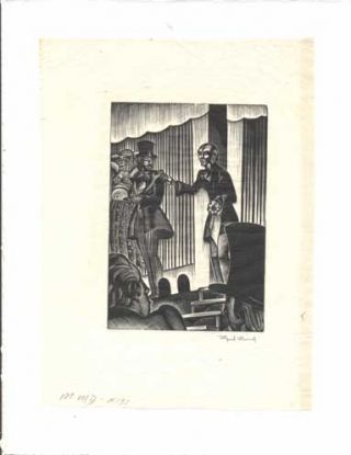 Signed Block Print from Mad Man's Drum [Scientist speaking to a crowd]. Lynd Ward.