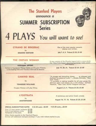 The Stanford Players announce a Summer Subscription Series. 4 Plays You will want to see! Cyrano...