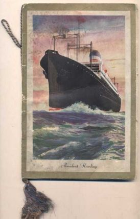 [S. S. President Harding Farewell Dinner Menu and Autographs of Passengers. Wednesday, August 24,...
