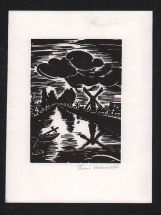 Original Wood Cut [River Scene with Windmill]. Frans Masereel.
