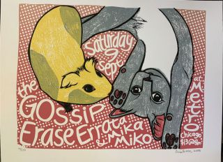 Signed, Limited Edition Poster by Artist Leia Bell: The Gossip, Erase Errata & Mika Miko. Leia Bell