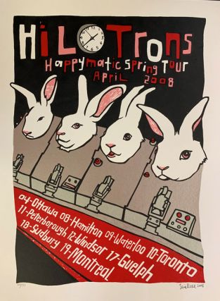 Signed, Limited Edition Poster by Artist Leia Bell: Hilotrons Happymatic Spring Tour. Leia Bell