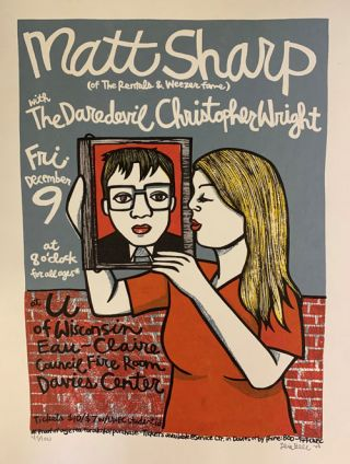 Signed, Limited Edition Poster by Artist Leia Bell: Matt Sharp (of The Rentals & Weezer fame)...