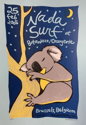 Signed, Limited Edition Poster by Artist Leia Bell: Nada Surf at Botanique/Orangerie. Leia Bell