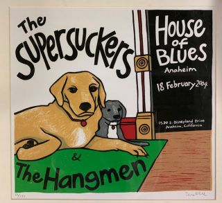 Signed, Limited Edition Poster by Artist Leia Bell: The Supersuckers & The Hangmen. Leia Bell